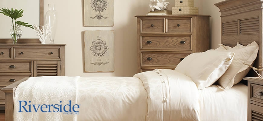 Bedroom furniture by Riverside Furniture.