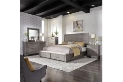 Modern Farmhouse Queen Storage Bed, Dresser & Mirror, Chest, Night Stand