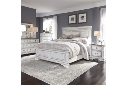 Abbey Park Panel Bed, Dresser & Mirror, Chest, NS