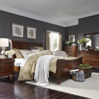 Rustic Traditions Sleigh Bed, Dresser & Mirror, Chest, NS