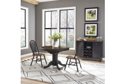 Carolina Crossing 3 Piece Round Table Set- Black
